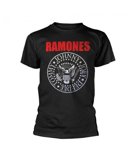 Tricou Unisex Ramones: Red Text Seal Logo