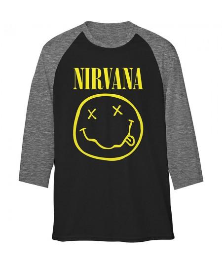 Tricou maneca 3/4 Nirvana: Yellow Smiley