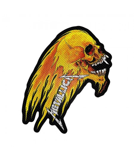 Patch Metallica: Flaming Skull Cut-Out