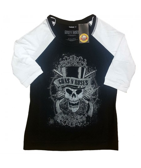 Tricou Dama cu Maneca 3/4 Guns N' Roses: Faded Skull