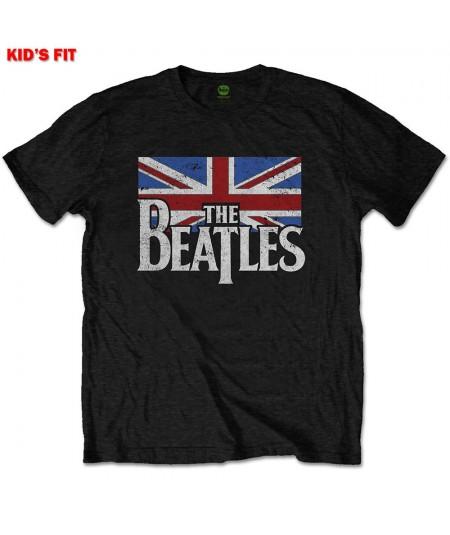 Tricou Copil The Beatles: Dop T Logo & Vintage Flag