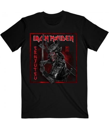 Tricou Unisex Iron Maiden: Senjutsu Cover Distressed Red