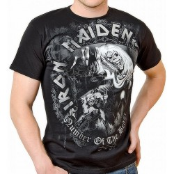 Tricou Iron Maiden: Number Of The Beast Grey Tone
